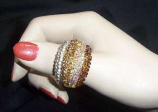 GLAMOROUS CRYSTAL GOLD BROWN RAINBOW STRETCH RING