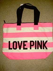 VICTORIAS SECRET love pink neon zipper striped canvas tote