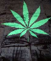 Plush Queen Size Pot Marijuana Leaf Faux Mink Blanket