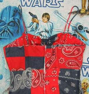 vintage Custom Red + Blue BANDANA PRINT Hippie Spaghetti Strap DRESS