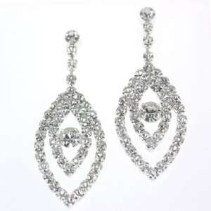 Clear Crystal Leaf Drop and Bold Center Round Shape Stone