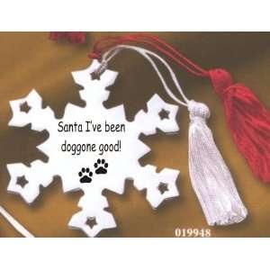 Dog Ornament, Dear Santa with Dog Paw Prints