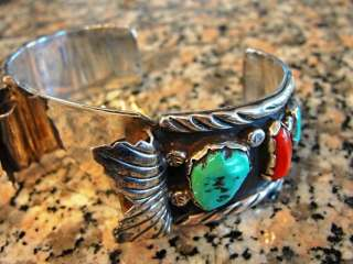ZUNI INDIAN ANGIE C. STERLING SILVER TURQUOISE & CORAL MANS WATCHBAND