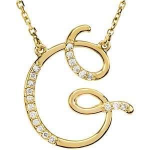 14K Yellow Gold Alphabet Initial Letter G Diamond Pendant Necklace, 17