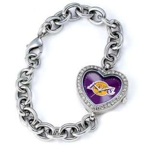 Los Angeles Lakers Ladies Silver Heart Watch