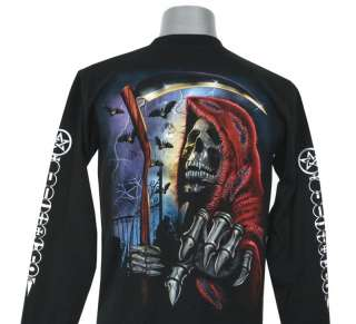 I80 GRIM REAPER DEATH GOD SKULL TATTOO L/S T SHIRT M