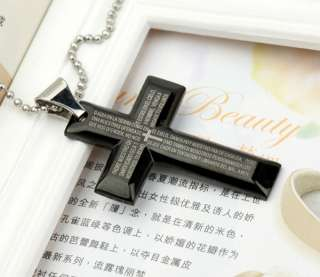 STEEL DESIGNER BIG BLACK CROSS NECKLACE USA SELLER *BC 3058*