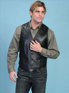 Scully Italian Lamb Leather Western Cowboy Vest 52 Black