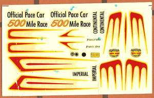 VINTAGE AMT MODEL CAR KIT DECAL SHEET 106 3 in 1 NASCAR