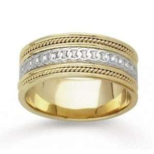 14k Two Tone Gold Eternity Circle Hand Carved Wedding Band Jewelry