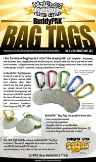 BUDDY PAK BAG TAGS for Disc Golf Tournament Tag Pack
