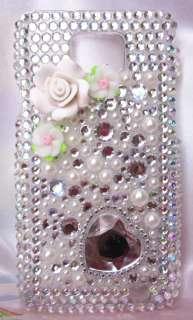 Bling Rhinestone Samsung Galaxy S2 i9100 Plastic Hard Case White Pearl