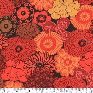 Wide Kiku Lotus Flower Red Fabric By The Yard: Arts, Crafts & Sewing
