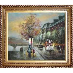 Paris Riverside Boulevard Scene Oil Painting, with Exquisite Dark Gold
