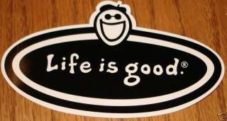 Life is Good Sticker Oval Black/White 4 1/2 x 2 1/2