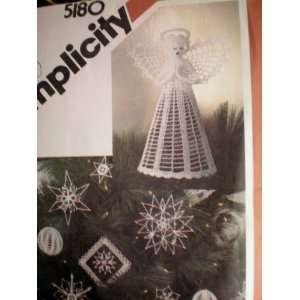 Simplicity 5180 Pattern  Crocheted Christmas Ornaments and Tree Top