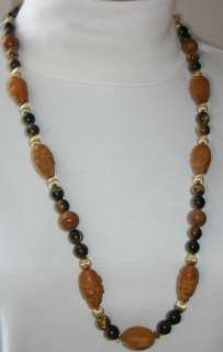 SALE ANTIQUE CHINESE TIGER EYE GOLD CHINA MEN FACES 30 NECKLACE