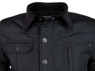 Shotwell Quilted Hunter Style Military Jacket/ Coat   Black