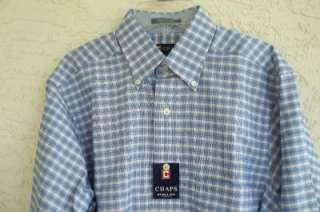 NWT CHAPS MENS BLUE PLAID LONG SLEEVE REGULAR FIT OXFORD DRESS SHIRT $