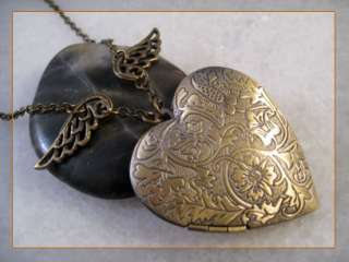 Angel Wing Heart Brass Picture Locket Pendant Necklace