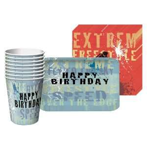 Extreme Sports Square Party Supplies Pack Including Plates