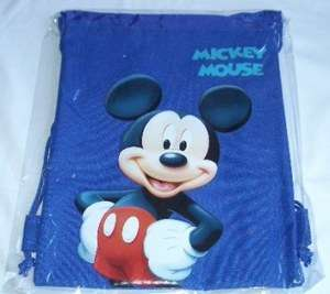Mickey Mouse Drawstring Backpack Sling Tote Bag Blue )