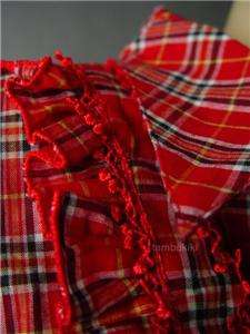 RED Ruffle Ruffled Bib Yoke Country Plaid Top Shirt S