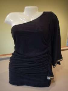 Bebe 2b NEW One Shoulder Black Faux Suede Dress Shirt Top Blouse XS S
