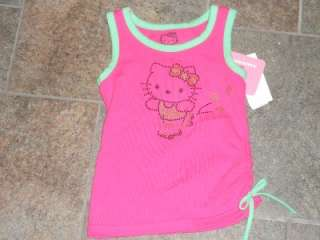 NWT Hello Kitty Pink Green Tank Top Shirt Sparkly 2T