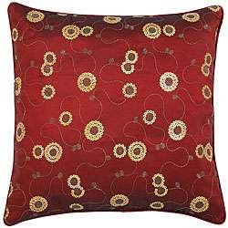 Decorative Floral Swirl Red Cushion Cover