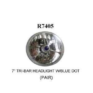 Racing Power R7405 7in Tri Bar Headlight w/Blue Dot (Pair