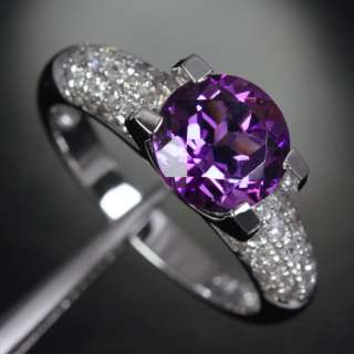 AMETHYST PAVE .81ct SI DIAMOND 14K WHITE GOLD Engagement Wedding RING