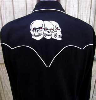Cadzoots Handmade Retro Western Cowboy Skull Shirt Lg