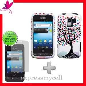 Custom Fit Screen + LOVE TREE Hard Case Cover Straight Talk NET 10 LG