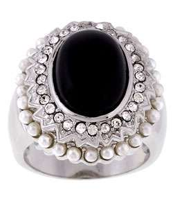 Sterling Silver Onyx Pearl Elizabethan Ring