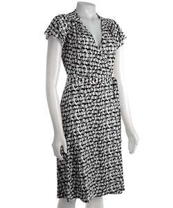 Max & Cleo Flutter Sleeve Faux Wrap Jersey Dress