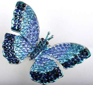 Blue swarovski crystal butterfly stretch ring jewelry 3