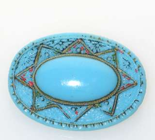 ANTIQUE VICTORIAN TURQUOISE BLUE CZECH GLASS BROOCH