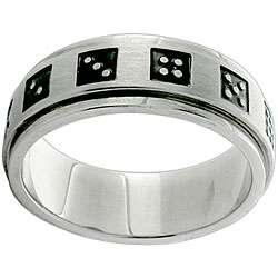Stainless Steel Black Dice Spinner Ring
