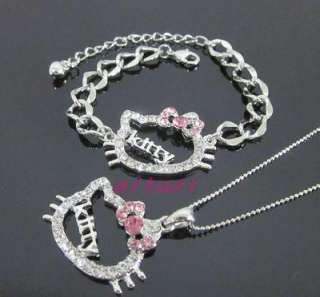 hello kitty pink bow kitty letter necklace bracelet set 2 item xmas