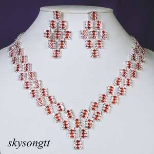 Red Clear Crystal Rhinestone Bridal Necklace Earrings Set P013R
