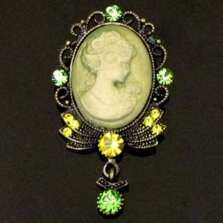 1p Rhinestone crystal Cameo Pin Brooch Necklace Pendant