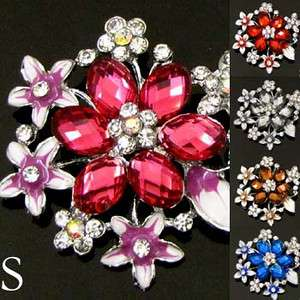 1pc rhinestone crystal glazed flower brooch pin wedding