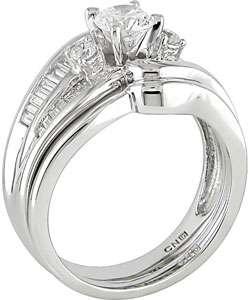 Gold 1ct TDW Round and Baguette Diamond Wedding Ring Set (G I, SI2 I1
