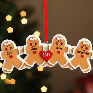 Personalized Gingerbread Family Christmas Ornament, Gingerbread