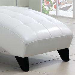 Axis White Faux Leather Chaise Lounge Chair
