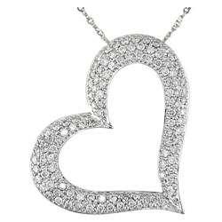 14k White Gold 1ct Diamond Heart Pendant