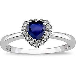 Gold Heart shaped Created Sapphire and Diamond Ring