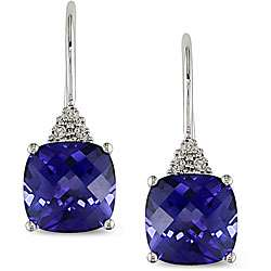10k White Gold Created Sapphire and Diamond Earrings