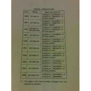 Kawasaki Concours 1000 GTR Motorcycle Service Manual 1986
